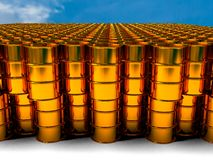 Of oil golden barrel background, 3d rendering Royalty Free Stock Photo
