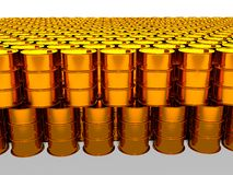 Of oil golden barrel background, 3d rendering Stock Photography