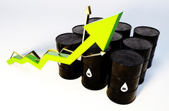 Oil graph growing. 3d image of oil barrels with graph growing Stock Photography