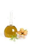 Oil and green olive Stock Photography