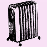 Oil heater. Electric heating, oil heater doodle style sketch illustration hand drawn vector Stock Photography