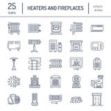 Oil heater, fireplace, convector, panel column radiator and other house heating appliances line icons. Home warming thin Stock Images