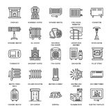 Oil heater, fireplace, convector, panel column radiator and other house heating appliances line icons. Home warming thin Royalty Free Stock Images