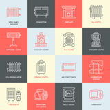 Oil heater, fireplace, convector, panel column radiator and other house heating appliances line icons. Home warming thin Stock Image
