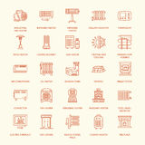 Oil heater, fireplace, convector, panel column radiator and other house heating appliances line icons. Home warming thin Stock Photography