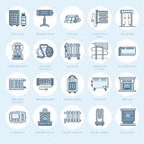 Oil heater, fireplace, convector, panel column radiator and other house heating appliances line icons. Home warming thin Stock Photo