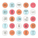 Oil heater, fireplace, convector, panel column radiator and other house heating appliances line icons. Home warming Royalty Free Stock Photography