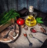 Oil with herbs and spices Stock Photo