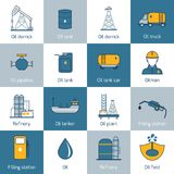 Oil Icons Flat Line. Oil gas fuel and petroleum flat line icons set with refinery tanker barrel  vector illustration Stock Photos