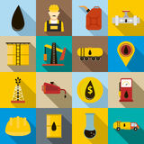 Oil icons set, flat style. Oil icons set in flat style for any design Stock Photography