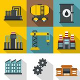 Oil icons set, flat style Royalty Free Stock Photography