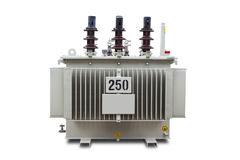 Oil immersed transformer. Three phase 250 kVA corrugated fin hermetically sealed type oil immersed transformer, isolated on white background with clipping path Stock Images