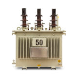 Oil immersed transformer. Three phase (50 kVA) corrugated fin hermetically sealed type oil immersed transformer, isolated on white background with clipping path Stock Image