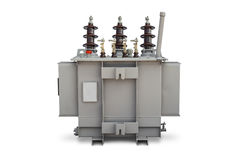 Oil immersed transformer. Three phase (100 kVA) pole mounted corrugated fin hermetically sealed type oil immersed transformer, supporting side, isolated on white Royalty Free Stock Photography