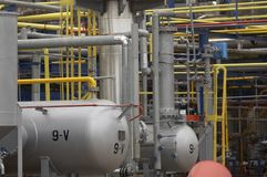 Oil industry 1. Close up of industrial pipes of oil industry production Stock Images