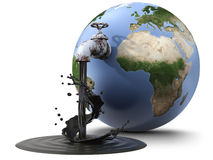 Oil industry. Earth globe pouring oil through a valve (3d render stock illustration