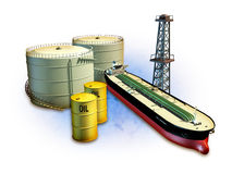 Oil industry. Oil themed composition showing an oil tanker, derrick, some barrels and storage tanks. Digital illustration, including a clipping path to separate vector illustration