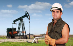 Oil industry. Oil worker posing Stock Photos
