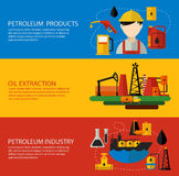Oil Industry Banner Flat Set Stock Images