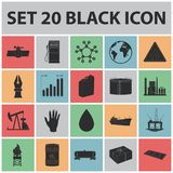 Oil industry black icons in set collection for design. Equipment and oil production vector symbol stock web illustration. Oil industry black icons in set stock illustration