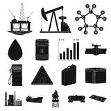 Oil industry black icons in set collection for design. Equipment and oil production vector symbol stock web illustration. Oil industry black icons in set vector illustration