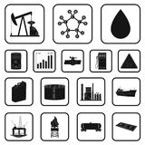 Oil industry black icons in set collection for design. Equipment and oil production vector symbol stock web illustration Stock Photos