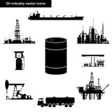 Oil industry black icons. A set of oil industry objects Stock Image