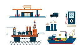 Oil industry business concept. Flat vecroe design of oil platform, gas station, car, ship and factory. Petroleum. Oil industry business concept. Illustration of royalty free illustration