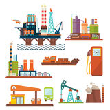 Oil industry business concept of gasoline diesel. Production fuel distribution and transportation four icons composition vector illustration royalty free illustration