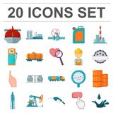 Oil industry cartoon icons in set collection for design. Equipment and oil production vector symbol stock web Stock Photo