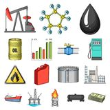 Oil industry cartoon icons in set collection for design. Equipment and oil production vector symbol stock web. Oil industry cartoon icons in set collection for Stock Photography