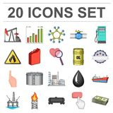 Oil industry cartoon icons in set collection for design. Equipment and oil production vector symbol stock web. Oil industry cartoon icons in set collection for stock illustration