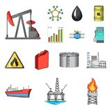 Oil industry cartoon icons in set collection for design. Equipment and oil production vector symbol stock web Royalty Free Stock Images