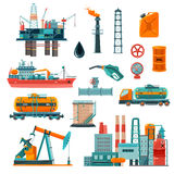Oil Industry Cartoon Icons Set. Set of oil industry production transportation extracting cartoon icons illustration stock illustration