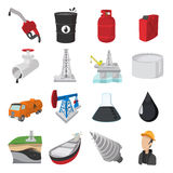Oil industry cartoon icons Stock Photography