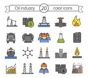 Oil industry color icons set. Oil platform, tanker, storage and barrel. Cargo ship, gas pipeline, flame, petrol trade and drill bit. Vector  illustrations Royalty Free Stock Photos