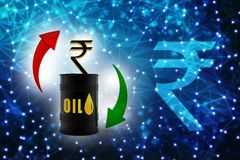 Oil Industry concept with Barrel and Indian Rupee, Oil price market concept. 3d render. Oil and Gas Industry concept with Barrel and Indian Rupee, Oil price vector illustration