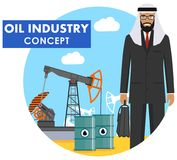Oil industry concept. Detailed illustration of arab muslim businessman on background with oil pump and metal barrels. Detailed illustration of arab muslim stock illustration