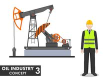 Oil industry concept. Detailed illustration of businessman, engineer and oil pump in flat style on white background Stock Photography