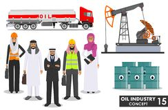 Oil industry concept. Detailed illustration of gasoline truck, oil pump, arab muslim businessman and businesswoman in Royalty Free Stock Images