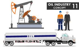 Oil industry concept. Detailed illustration of gasoline truck, oil pump, businessman, engineer and worker in flat style Royalty Free Stock Photography