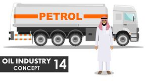Oil industry concept. Detailed illustration of gasoline truck and saudi arabic man in traditional islamic clothes Stock Photo