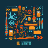 Oil industry concept with fuel transportation process. Oil refinery or chemical plant. Vector illustration vector illustration