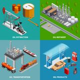 Oil Industry 2x2 Concept. Oil industry extraction equipment refinery and transportation 2x2 colorful isometric concept 3d isolated vector illustration stock illustration