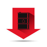Oil industry concept. Oil price falling down with arrow and tank. Icon. Financial markets. Vector illustration Royalty Free Stock Photo