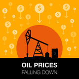 Oil industry concept. Oil price falling down with dollar coin an. D petroleum pump. Financial markets. Vector illustration Royalty Free Stock Photography