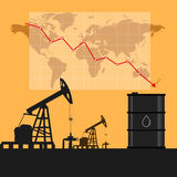 Oil industry concept. Oil price falling down graph and chart wit Royalty Free Stock Photo