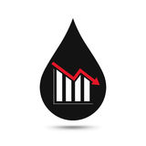 Oil industry concept. Oil price falling down graph with oil drop. Financial markets. Vector illustration Royalty Free Stock Photo