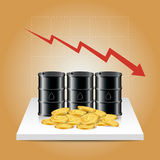Oil industry concept. Oil price falling down graph with oil tank. And dollar coins. Financial markets. Vector illustration Stock Photos