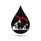 Oil industry concept. Oil price falling down graph with petroleu. M pump and oil drop. Financial markets. Vector illustration Royalty Free Stock Photos